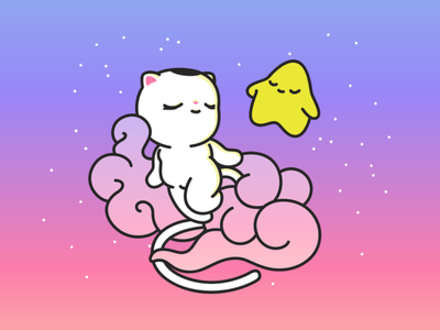 Flying cat and star star cat vectorillustration vector