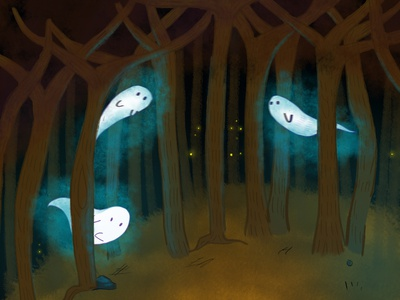 Ghosts tale mistery night forests forest ghost party ghost folktale illustrations folktale children illustration children book illustration illustration book illustration