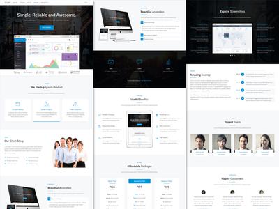 Stamp - For Startup & Web App startup landing page homepage web design registration mailchimp polygon pricing timeline ios android app