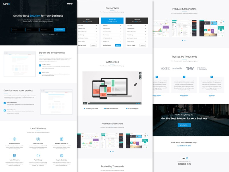 Freebie: LandX PSD Template free psd psd template free template landing page app ui web design form subscribe