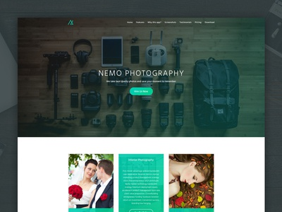 Photography Landing Page pricing table portfolio agency photographer photography app ui ui design landing page web design