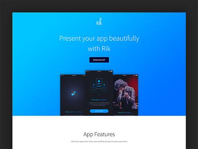 Free App Landing Page (Rik) free html freebie landing page app free app landing page free template