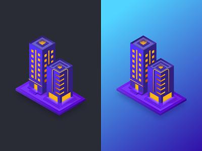 Isometric Buildings v1 designer affinity night building night city city buildings illustration isometric