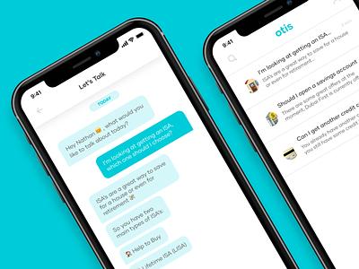 meet otis minimal animation app ui design adobexd app design ux finance app fintech financial chatbot