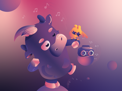 Small calf is dancing vector illustration animal
