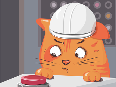 just red cat in a hard hat vector illustration animal