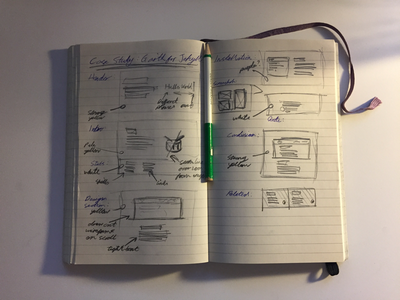 Case Study Sketching notepad wireframe sketch sketching