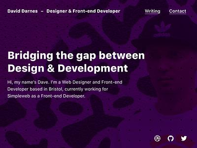 Homepage Style Experiment homepage purple experimentation portfolio