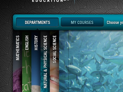 browse departments + courses - direction 2 design interactive design web ui user interface