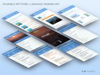 Mobile App Store + CON Language Training App Screens