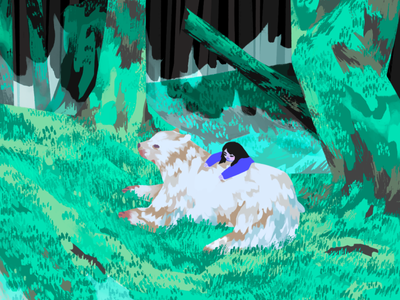 Spirit Bear background design cartoon narrative character editorial illustration visual development color character design concept art digital art illustration