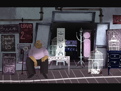 Old man and his antique store.