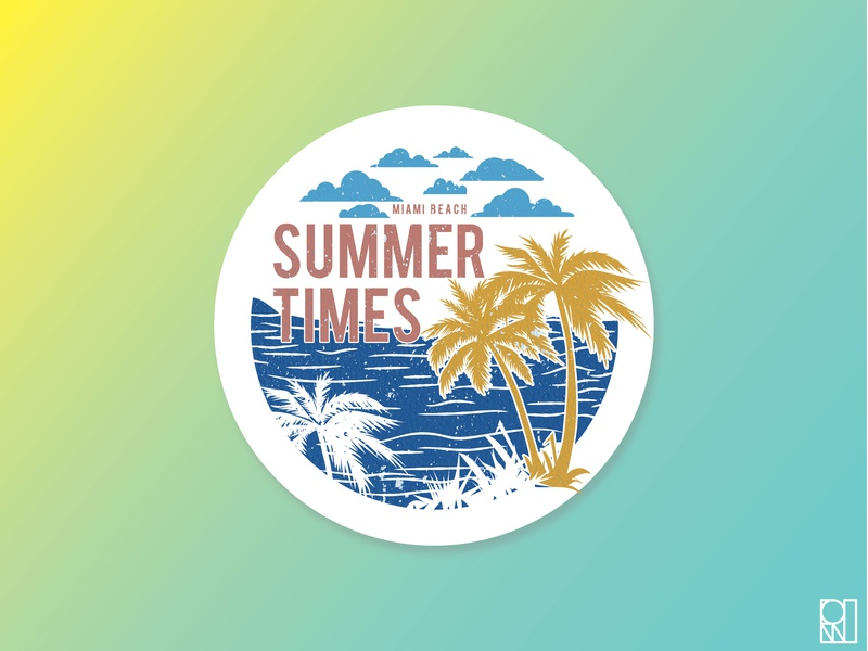 Summer times miami beach 2019 illustration design palmtrees summertime