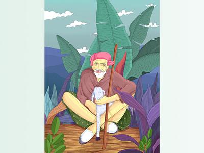 farmer in relaxing procreate design design illustration