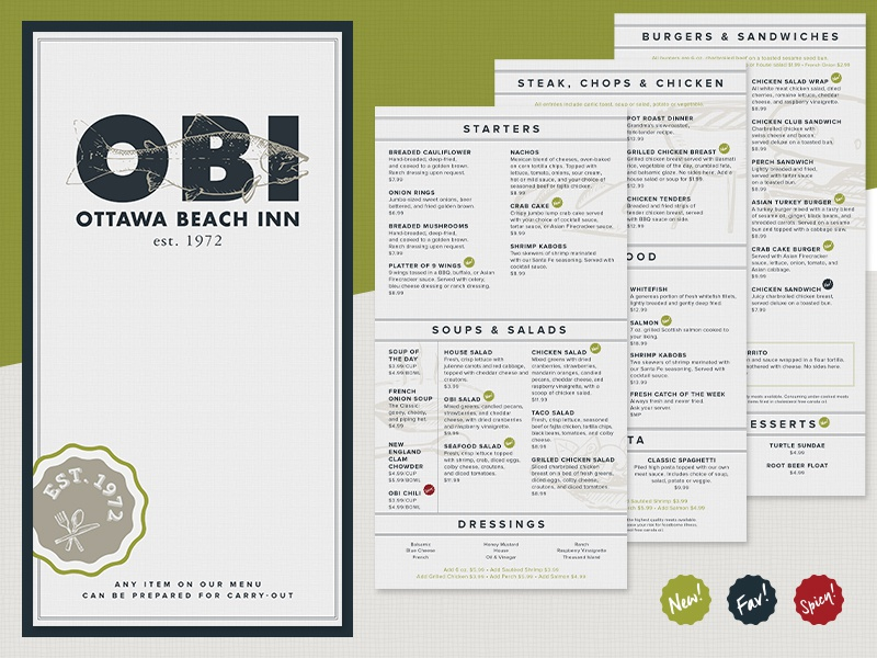 Ottawa Beach Inn Menu Michigan Holland Restaurant Futura M Print Food
