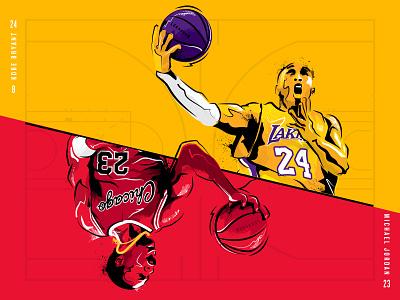 Mamba x MJ nba basketballl illustration sports