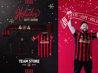 Atlanta United Holiday 2020 mls team holiday hand drawn retail soccer design atlanta sports