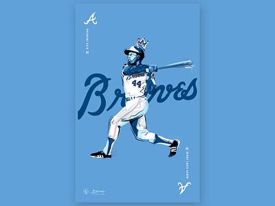 Keep Swinging hank aaron baseball atlanta braves illustration sports design atlanta sports