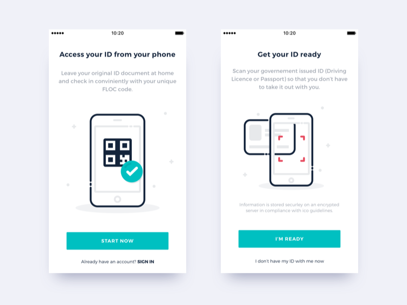 Your ID on your phone - On boarding by Simon Brunet on Dribbble