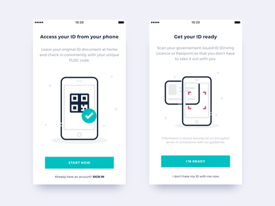 Your ID on your phone - On boarding minimal clean illustration ux ui tutorial on boarding onboarding