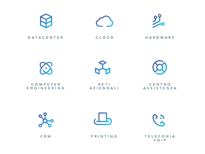 Icon set support networks engineering hardware cloud datacenter digital corporate tech it icon set icon