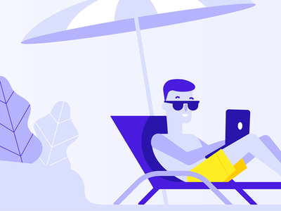 Remote Working bemind laptop tech summer beach illustration blog working remote