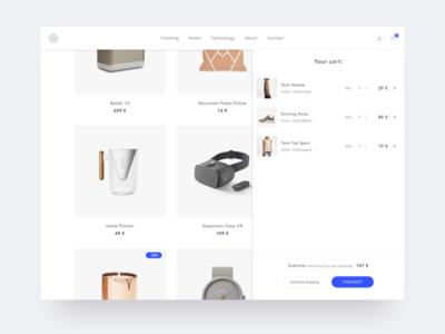 Design Shop - Cart minimal products cart ecommerce shop furniture design electronics minimalism website fashion ui