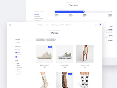 Product Category & Order Tracking webapp website ui shop product minimalism minimal apparel fashion ecommerce design products