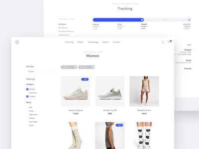 Product Category & Order Tracking webapp website ui shop product minimalism minimal apparel fashion ecommerce design products
