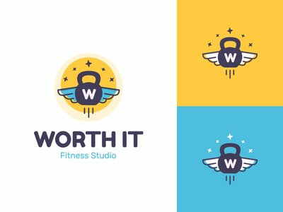 Worth It Fitness Studio fredoka wings stars logo design illustration typography logo identity kettlebell sport fitness logo branding