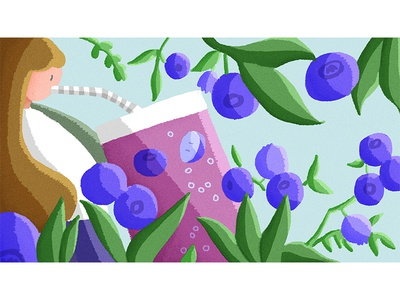 Blueberry Passion Pearl Fizz starbucks design 插图 illustration