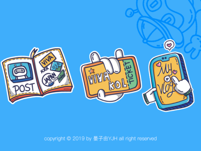 Vivavideo Brand Design-Sticker brand design sticker design illustration 插图