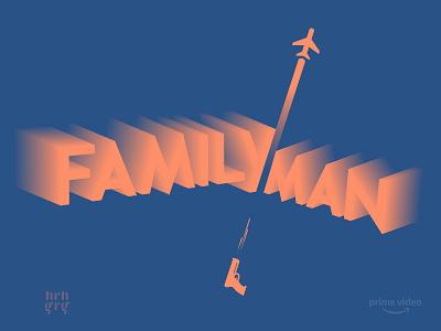 Family Man - Minimal Poster amazon adobe blend duotone modern typography webseries minimal india illustration poster amazonprime manojbajpayee