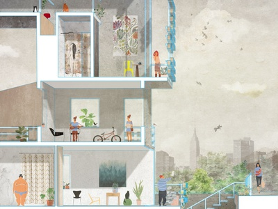 Section of Life 001 landscape interiordesign lifestyle imagination collage rendering graphic design graphic architectural design architectural architecture illustration design