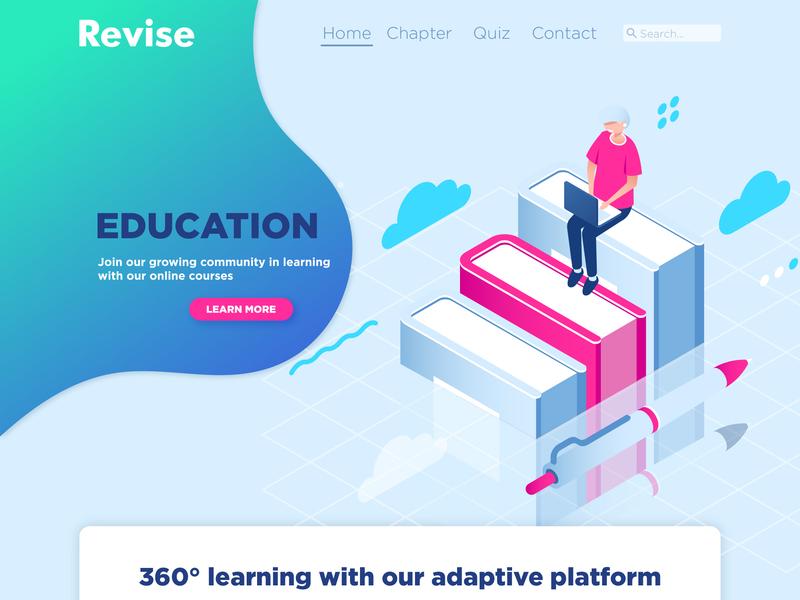 Revise - Online Learning (Web Design) education graphic  design vector illustrator gradient uiux vector art web web  design