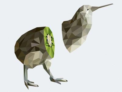 Kiwi Bird low poly kiwi debut fruit bird low-poly invite lowpoly