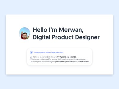 Hello 👋 product design portfolio