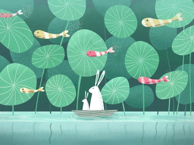 Rabbits in the Forest River forest calm water colorful background scenery animal rabbit fish green color branding artwork artist art vector sketch illustration drawing draw