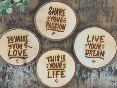 Laser Cut Coasters wood coasters lettering casual holstee