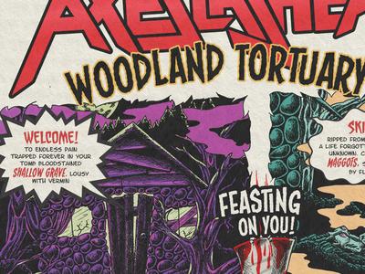 """Axeslasher """"Woodland Tortuary""""  Illustrated Lyric sheet"""