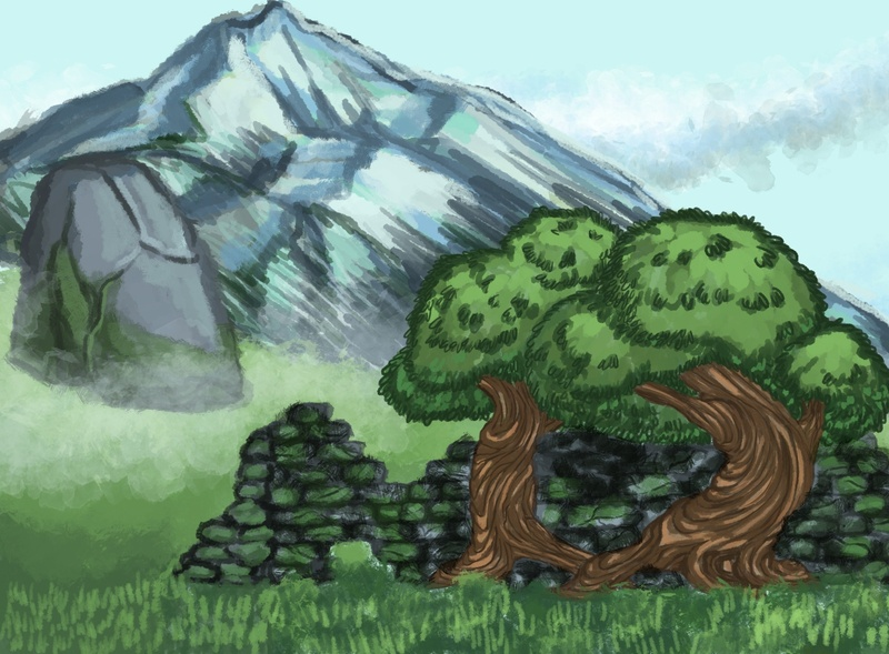 Two trees digital paint landscape mountain trees