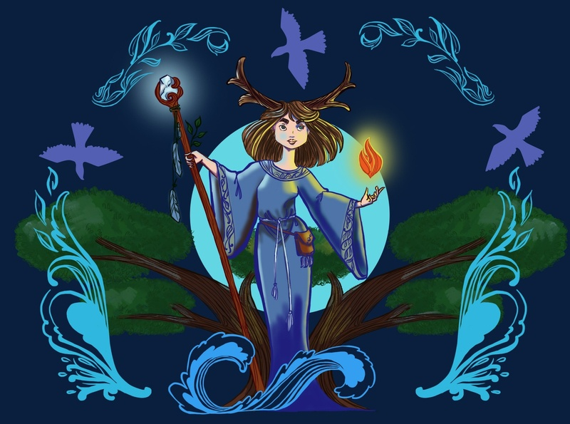 Forest witch illustration digital paint four elements pattern witch forest