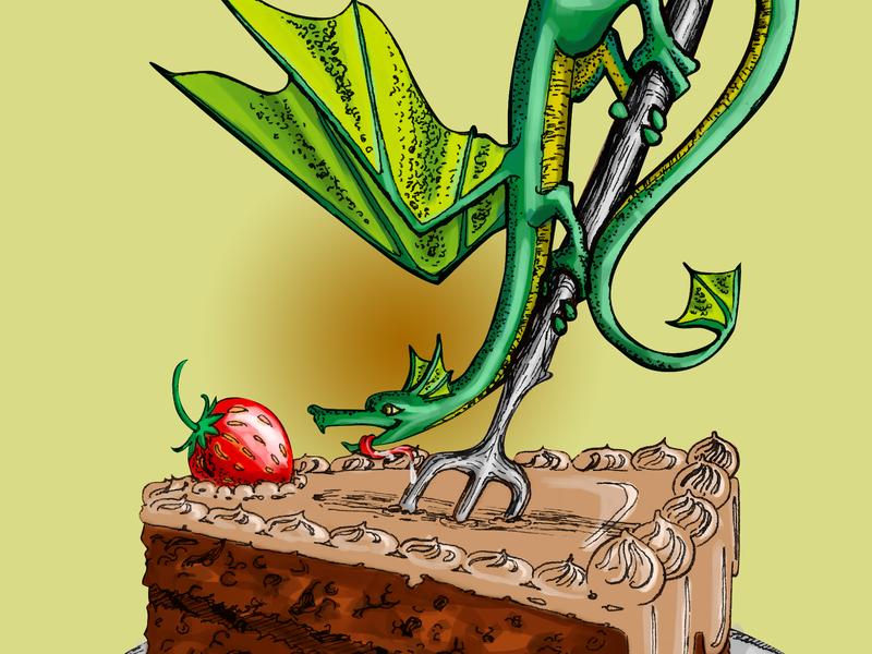Dragon And Cake strawberry cake dragon
