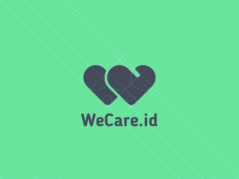Logo for WeCare.id hugs hearts w typography healthcare logo