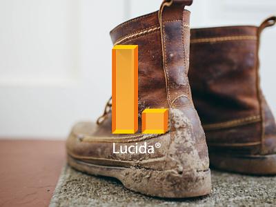 Lucida 3d orange translucent light typography letter technological tech shoe floor branding logo