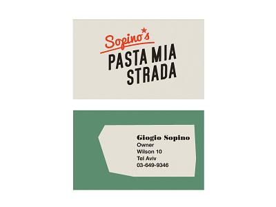 Pasta Mia style local business fifties retro typography branding logo stationery business card italian restaurant