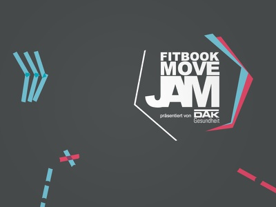 FITBOOK MoveJam 2018 graphics visual stage banner poster health movement festival graphic design identity sport fitness event tape art visual identity logo