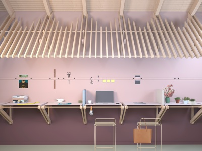 OFFICE INTERIOR - Standing Desks visual identity interior branding cool workspace interior styling happy at work work happy new work workspace design workspace workplace design office desk 3d art vray 3d max 3d visualisation coworking design office design interior edsign interior