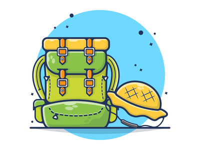Mountain Backpack & Hat 🎒🧢🥾 backpacks hat backpack backpackers hiker logo adventures advent tool cute illustration flat design cartoon designbold climbing hiking gear mountain mountain logo mountains