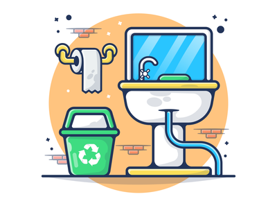 Public Mirror in Toilet, Tissue Roll, and Trash 🧻🚽🧻🗑 toilets toiletpaper water public mirror mirror tissue roll tissue trash woman man toilet paper wc toilet logo branding flat icon illustration design cartoon